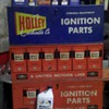 1957 holley carburetor three drawer tin cabinet