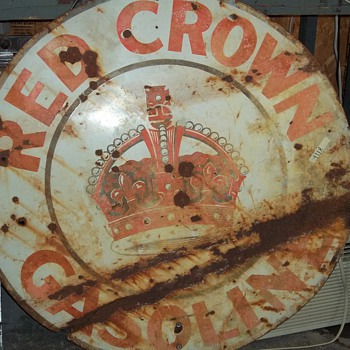 RED CROWN GAS SIGN - Petroliana