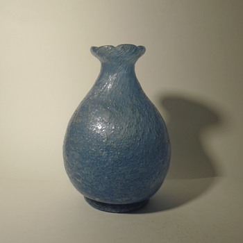 Early Beranek Glassworks pulegoso art glass vase in blue -- Czech art glass - Art Glass