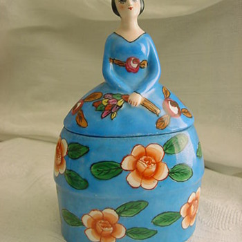 Vintage ? Art Deco Pottery or Porcelain Figural POWDER BOX Lady MYSTERY - Pottery