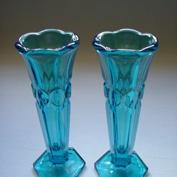 Czech Art Deco Pressed Glass Vases   - Art Glass