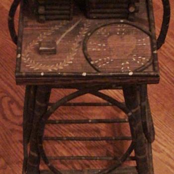 Bentwood Folk Art Log Cabin Smoking Stand - Folk Art