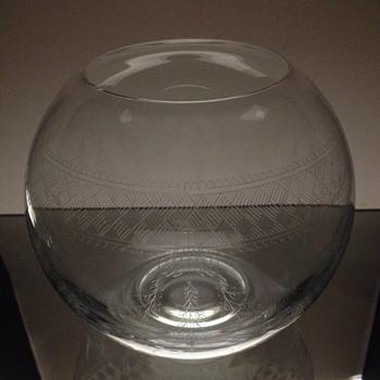 Etched Crystal Fish Bowl Vase