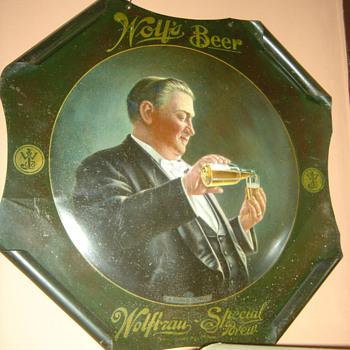 Wolf's Brewing Co. tin sign-Stillwater,MN