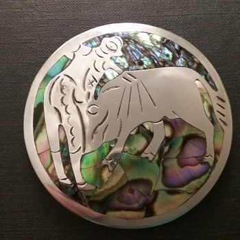 Taxco sterling & abalone bullfighting brooch  - Fine Jewelry