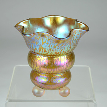 Loetz Candia Papillon Oil Spot Iridescent Ball Footed Vase  - Art Nouveau
