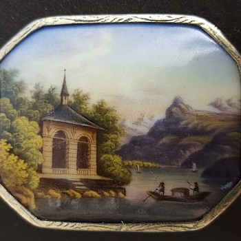 Enamel landscape of Tell's chapel, early Victorian brooch. - Fine Jewelry