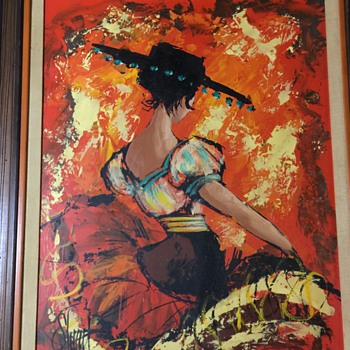 Spanish Lady Dancer  Vintage painting on board unknown age