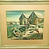 """""""Beach Shacks with Figure, Dories and Lobster Traps"""" by Jane Oliver (1921-2006, NJ, USA)"""