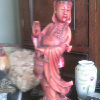 Tall wood Chinese  statue