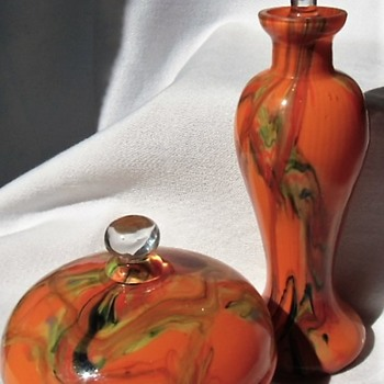 A new collection set, Czech vanity orange swirl glass decor box and bottle - Art Glass