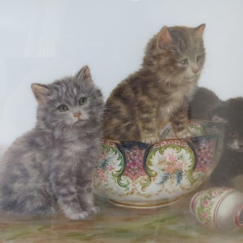 Bessie Bamber Cat Paintings on Porcelain or Opaque Glass - Animals