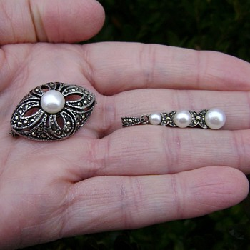 Silver Marcasite Pin and Pendant - Fine Jewelry