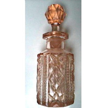 Pink Pressed or Cut Glass Perfume Bottle and Stopper/ Circa 1930's - Bottles