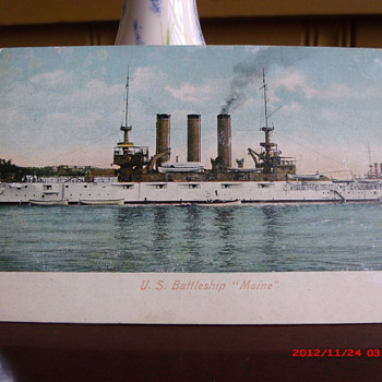 """Postcard of the U.S. Battleship """"Maine"""" - Military and Wartime"""
