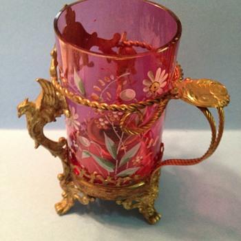 Enameled fairy lamp - Art Glass