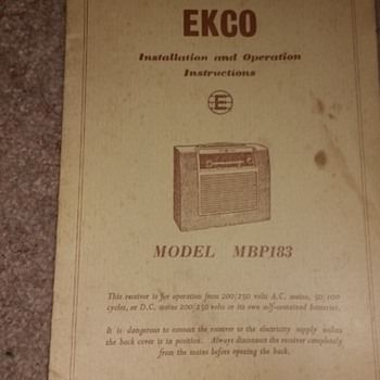 EKCO Installation and Operations instructions paper instructions for the model MBP183. - Radios