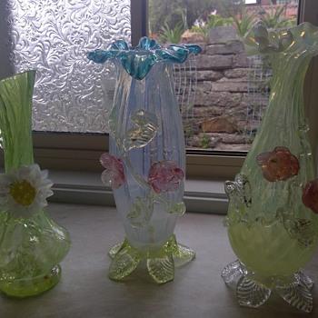 Harrach Vaseline Opalescent Vases and Jug - Art Glass