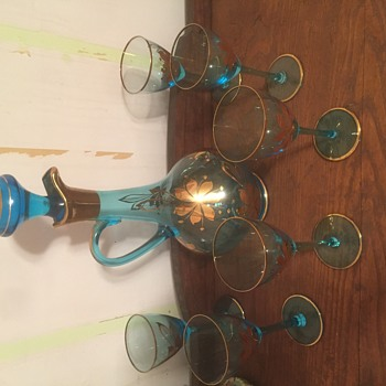 Blue crystal with gold leaf wine decanter with 6 glasses  - Glassware