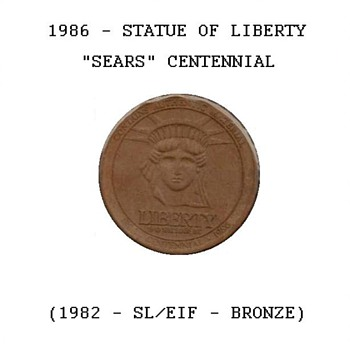"1986 - ""Sears"" Statue of Liberty Token - US Coins"