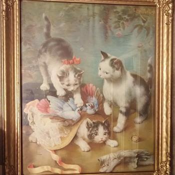 "C. Reichert Framed Print ""Mischievous Kittens"""