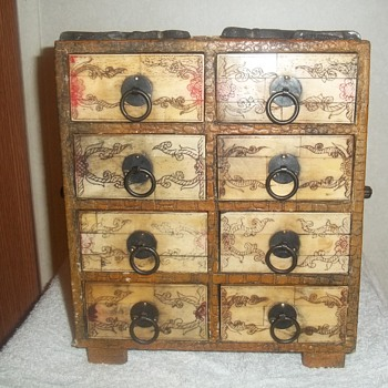 Box, about a foot tall, bone or ivory carved, heavy, wood with skin, or cloth, sturdy - Furniture