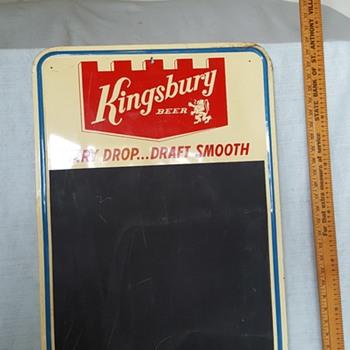 Kingsbury Beer Sign and Chalkboard - Breweriana