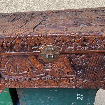 Carved Cedar Chest - Asian
