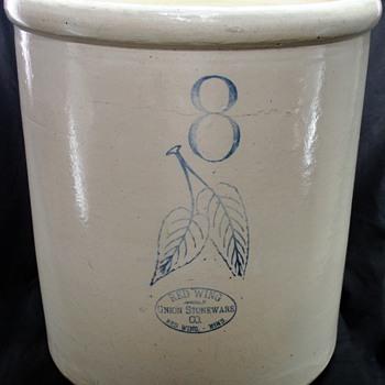 Vintage 8 Gallon Redwing Crock - Pottery