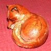Vintage Cast Iron Sleeping Red Fox Paperweight