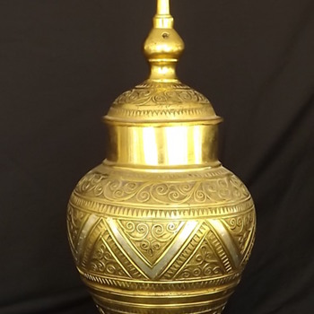 Brass Etched Vase - Asian