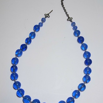 Antique Blue Glass Beads with Chinese Characters - Fine Jewelry