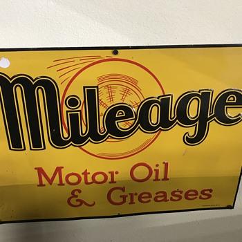 Mileage motor oil sign - Petroliana