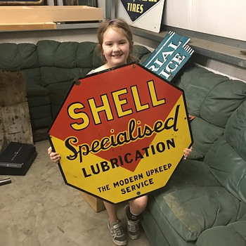 1920's Shell Specialized Lubrication sign. - Petroliana