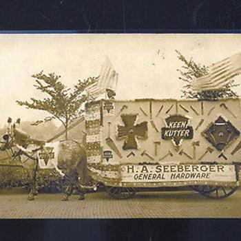 Postcard of Horse-drawn advertising wagon of Seeberger Hardware