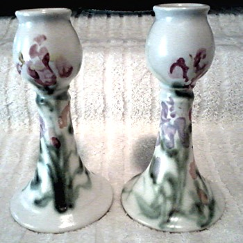 Cloud's Pottery Folsum California /Hand Painted Floral Design Candlesticks / Circa 1999 - Pottery