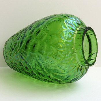 Small Iridescent Flashed Green Vase with an Unusual Martele - Art Glass
