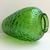 Small Iridescent Flashed Green Vase with an Unusual Martele