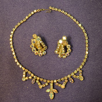 Gem Necklace and Earrings from my Great-Grandma