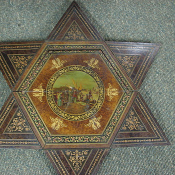 Folding Table Octagon to Star Walnut with Mural French? Italian? - Furniture