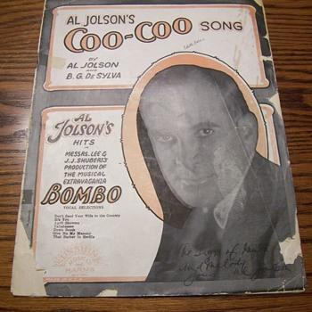 SIGNED AL JOLSEN SHEET MUSIC COVER - Music Memorabilia