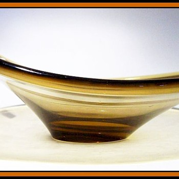 Unknown Amber Glass Bowl - Art Glass