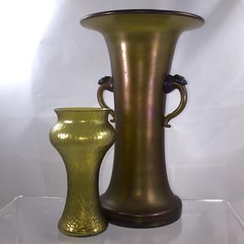 Loetz Bronce in Glatt & Martele Vases - Art Nouveau