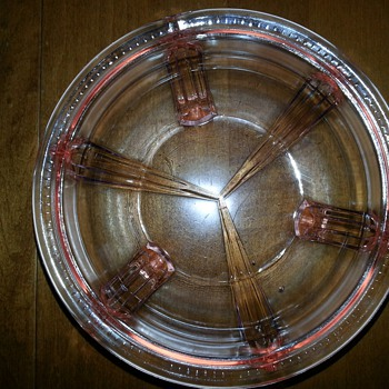 Vintage pink depression glass footed bowl   - Glassware