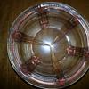 Vintage pink depression glass footed bowl