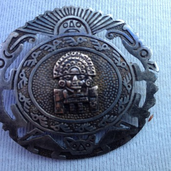 Vintage silver Aztec brooch it was my grandmothers it might be from 1950s