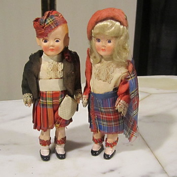 "Vintage Scottish/Irish Dolls. Moveable Eyes. Great Wardrobe 6.5"" - Dolls"