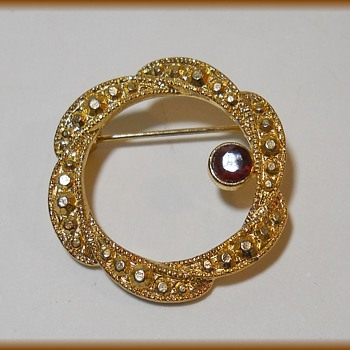 Wreath Brooch - Unmarked ( 2nd one I have now  )  - Costume Jewelry