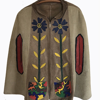 Original Vintage 60s 70s Hand Painted HIPPIE PONCHO  - Mens Clothing