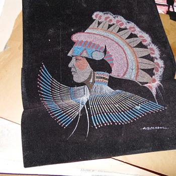 Native American Painting On Velvet Signed